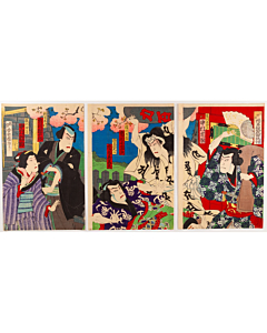 Kunisada III Utagawa, Kabuki Actors in a Theatre Play, Meiji Era