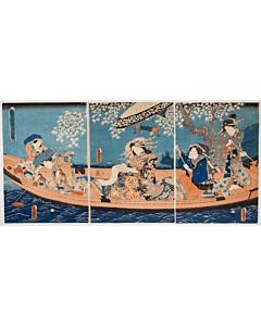 toyokuni III utagawa, boat, beauty, kimono