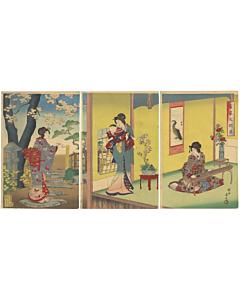 chikanobu yoshu, wealthy family, kimono design