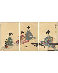 chikanobu yoshu, tea ceremony, kimono