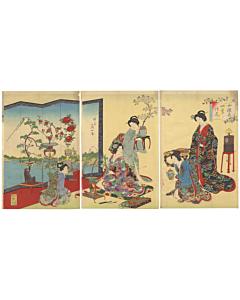 chikanobu yoshu, flower arrangement, kimono