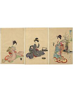chikanobu yoshu, tea ceremony, kimono design