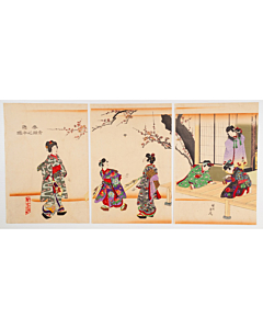 Chikanobu Yoshu, Girls Playing Hanetsuki, New Year Game
