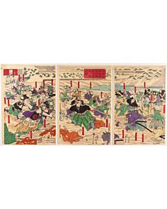 yoshitora utagawa, Sakuradamon Incident, battle scene, triptych, samurai