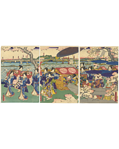 Sadahide Utagawa, Court Ladies, Cherry Blossom, sakura, japanese woodblock print, japanese antique