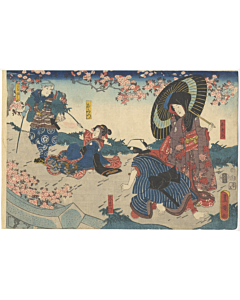 Toyokuni III Utagawa, Shinju Asu no Uwasa, Kabuki Theatre Play