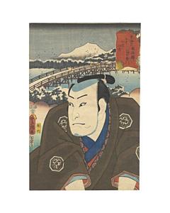 toyokuni III utagawa, Actor Nakamura Utaemon VI as Masaemon, kabuki theatre