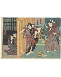 Toyokuni III Utagawa, Sekitori Nidai no Shobuzuke, Kabuki Theatre Play