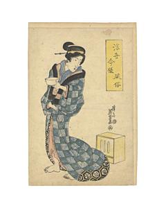 eisen keisai, Woman Holding a Bowl, beauty, kimono