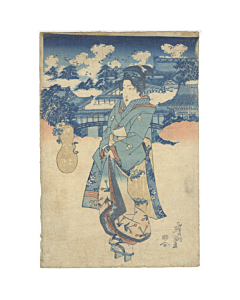 Eisen Keisai, Beauty in Kimono, Ueno, Eight Views of Edo