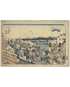 Eisen Keisai, Summer Breeze at Nihonbashi, Eight Views of Edo
