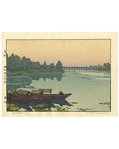 toshi yoshida, yodo river, landscape, shin-hanga