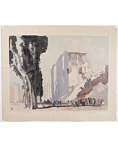 mokuchu urushibara, Messina, Life Amongst the Ruins,Designed and signed by Frank Brangwyn