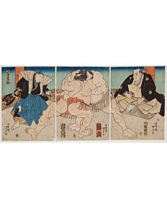 kunisada I utagawa, sumo wrestlers, Tsurugiyama and Iwamigata