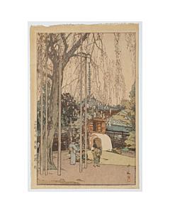 hiroshi yoshida, Cherry Tree in Kawagoe, shin-hanga, modern landscape, spring in japan
