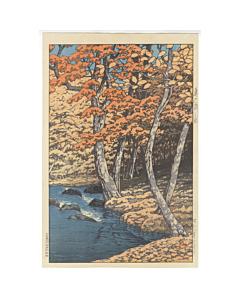 hasui kawase, Autumn in Oirase, shin-hanga, modern landscape