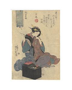 kunisada I utagawa, sewing clothes, beauty, edo period