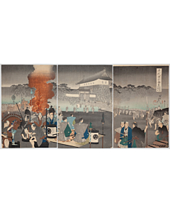 chikanobu yoshu, Daimyo Procession Arriving at Edo Castle, Outer Palace of Chiyoda
