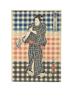 toyokuni III utagawa, Actor Ichikawa Danjuro IX, Three Pattterns of Benkei Check (御誂え三色弁慶), tattoo design, japanese irezumi