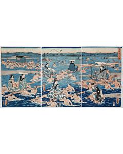 Hiroshige II Utagawa(1826-1869) sealed as Shigenobu Utagawa, Crossing Oi River(大井川かち渡), edo period, mount fuji