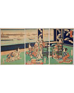 yoshitora utagawa, Fashionable Fan Party(風流あふき会), tale of genji