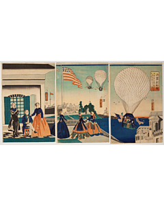 Yoshitora Utagawa, The United States of America, Balloon Flight