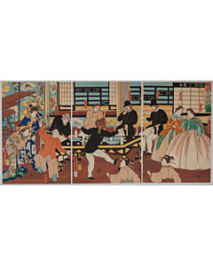 yoshitora utagawa, foreigners enjoying a party