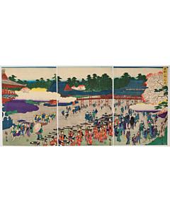 Hiroshige II Utagawa, Cherry Blossom Viewing at the Ueno Park