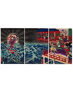 Yoshitora Utagawa, Miyajima Benzaiten and Lord Kiyomori, Warrior Print