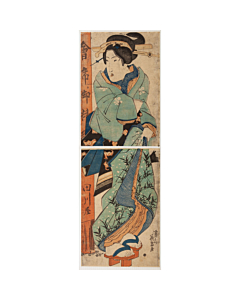 Eisen Keisai, Courtesan Standing in Front of a Restaurant, Kimono Design