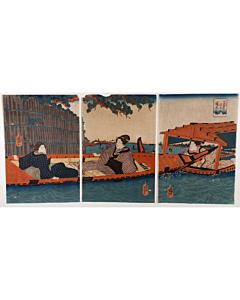 kuniyoshi utagawa, sumida river, pleasure boat, pine tree