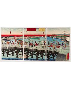 hiroshige III utagawa, ryogoku bridge, landscape, mount fuji