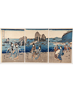 Hiroshige Ando, Futamigaura from the Famous Places in Ise, Beauties and Landscape