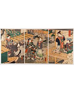 kunisada II utagawa, tale of genji, courtesan agemaki