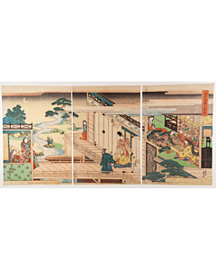 kunisada utagawa, tale of genji, cicada shell