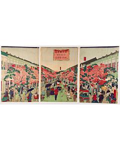hiroshige III utagawa, ginza street, tokyo, landscape