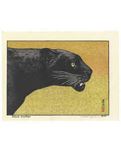 Toshi Yoshida, Black Panther, Animal Print, Shin-hanga