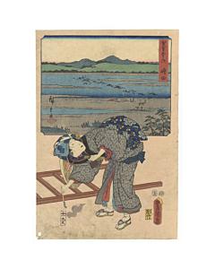 hiroshige ando, toyokuni III utagawa, oi river, tokaido