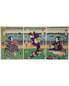 kunisada II utagawa, beauties, kimono design
