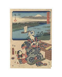 hiroshige I, toyokuni III, landscape, design, tokaido