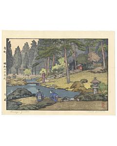 toshi yoshida, Lin'noji Garden, modern landscape, shin-hanga