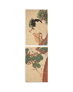 hiroshige ando, crane, young birds, pine tree