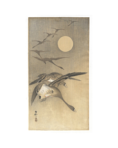 koson ohara, flying geese, moonlight, birds