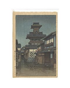 kawase hasui, bell tower in okayama, shin-hanga landscape