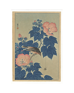 koson ohara, Fly-catcher on Rose Mallow Watching Spider, kacho-ga, bird and flower print