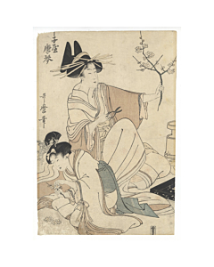 utamaro kitagawa, beauty, courtesan, flower arrangement, ikebana
