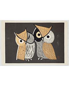 kaoru kawano, two little owls, sosaku-hanga