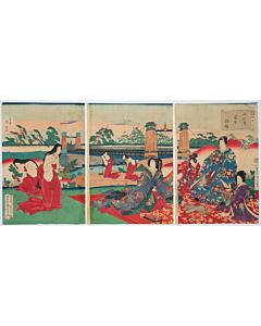 kunichika toyohara, tale of genji, picking small pine trees