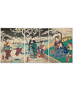 fusatane utagawa, tale of genji, winter season, snow landscape