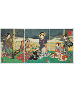kunisada II utagawa, hide and seek, tale of genji